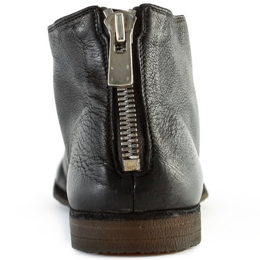 Back Zip Round Toe Leather Ankle Boots