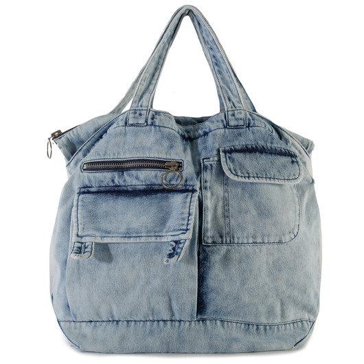 online sale pre order low price sale Multi-Pocket Acid Wash Denim Tote Bag