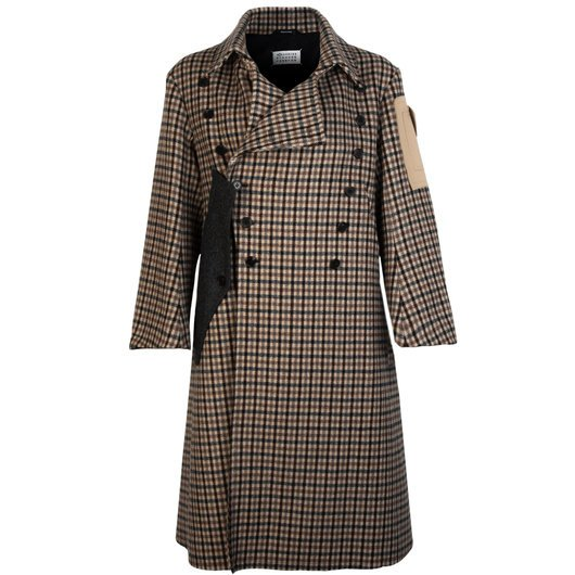 Maison Margiela Double Ted Wool, Brown Check Winter Coat