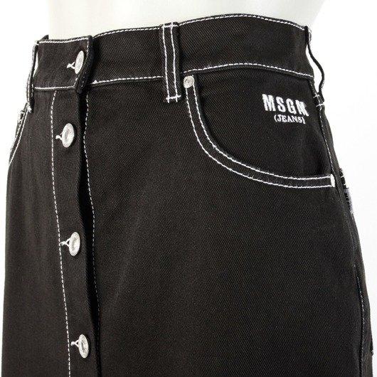 a543db710d0e Contrast Stitch Denim Black Skirt - MSGM | Hervia