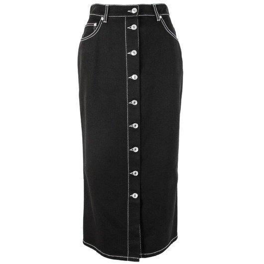 b20794b8937c Contrast Stitch Denim Black Skirt - MSGM