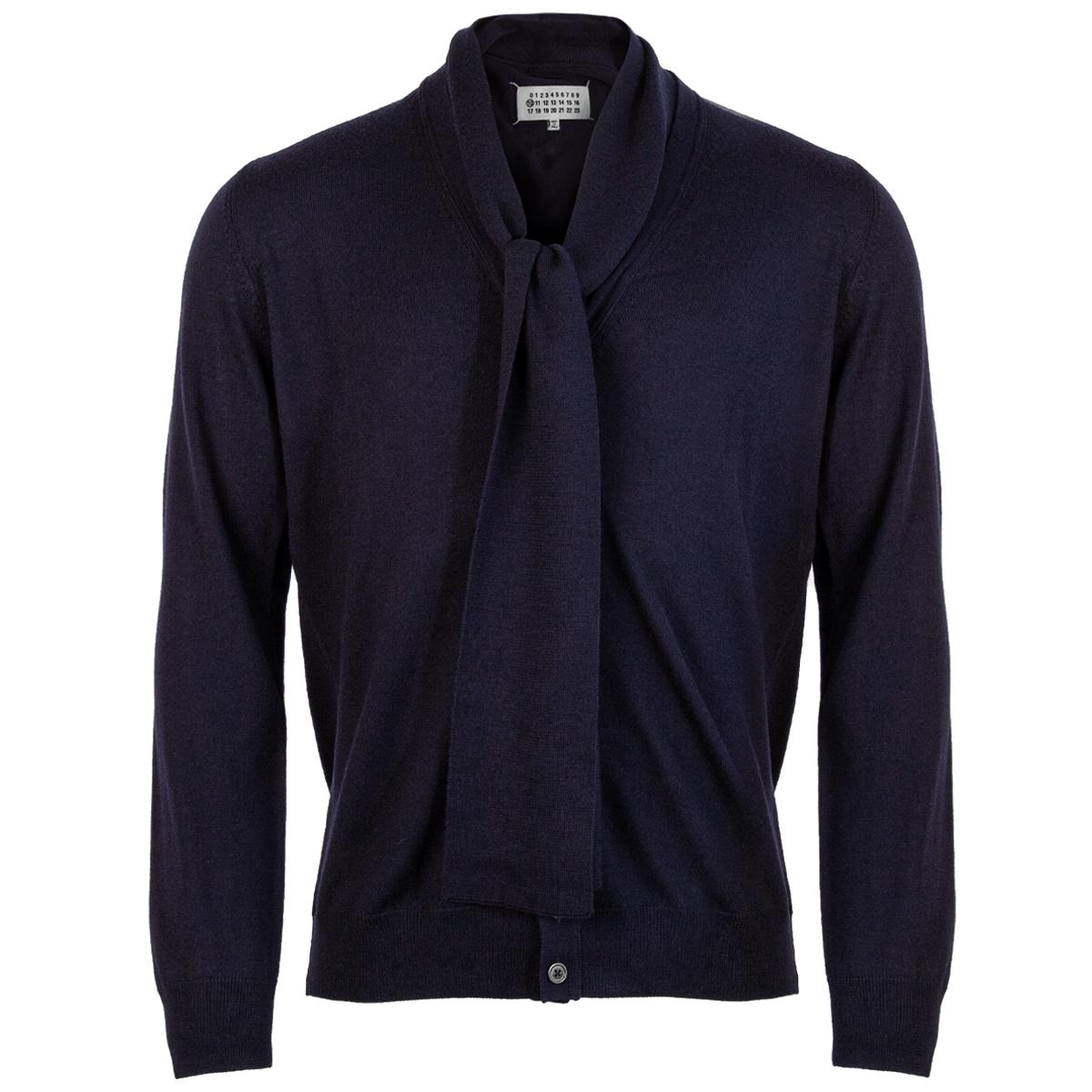 Maison Margiela Tie Detail Fine Knit Cardigan Navy | Hervia