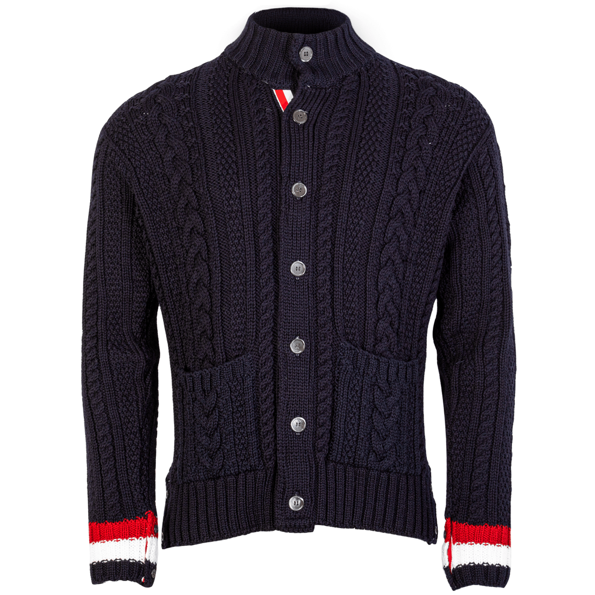 Button Up Cable Knit Aran Cardigan