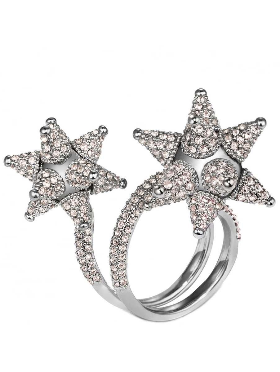 Vaticinador Salvaje conspiración  Swarovski Kalix Double Silver Crystal Ring | Hervia